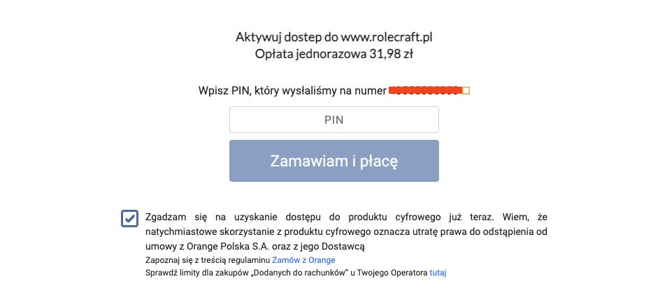 Potwierdzenie płatności sms kodem